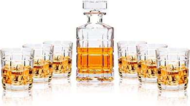 LANFULA Crystal Whiskey Decanter Set, Premium Liquor Decanter with 6 Tumbler Glasses for Bourbon, Scotch, Irish whisky and Alcohol, Gift for Wedding/Anniversary/Birthday/Christmas (7- Piece)