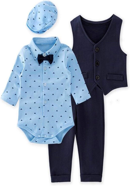 Bilo Store Infant Toddler Baby Boys Gentlemen 4-Piece Tuxedo Suit Formal Wear Outfit