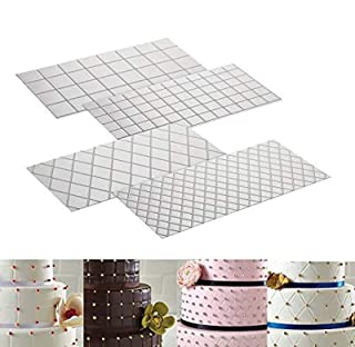 Cake Fondant Impression Mat Mold Diamond Quilted Grid Texture Embossed Lace Embossing Mat Cake Decorating Supplies for Cupcake Wedding Cake Decoration Tools(Set of 4)