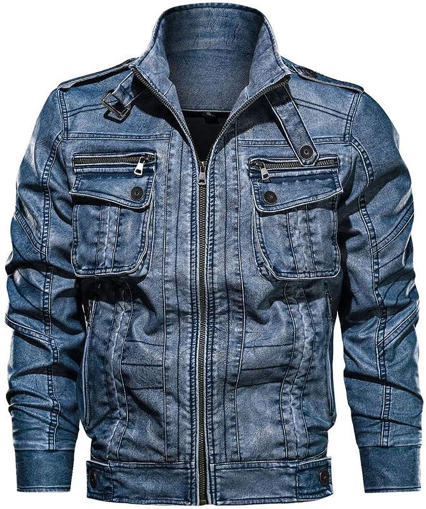 Men's Jean Coat Long Sleeve Lapel Collar Denim Vintage Zipper Jacket for Autumn Winter