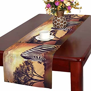 InterestPrint Zebra Portrait on African Sunset Africa Safari Wildlife Table Runner Linen & Cotton Cloth Placemat Home Decor for Kitchen Dining Wedding Party 16 x 72 Inches