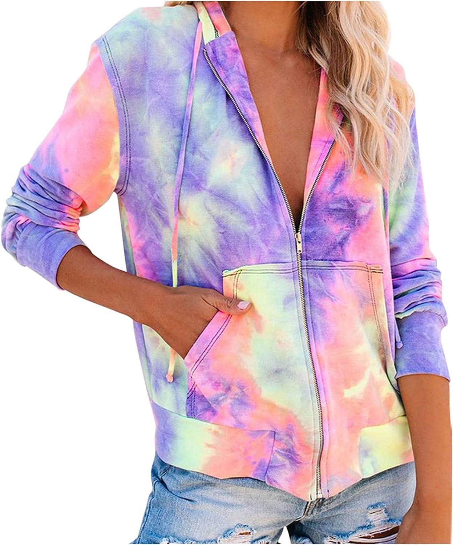 WOCACHI Womens Zip Up Hooded Sweatshirts Tie Dye Camouflage Printed Hoodies Jacket Drawstring Loose Hoodie Coat