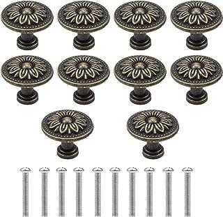 NATUCE 10PCS Bronce Vintage Pomo de Armario Redondo, 32MM Retro Tirador para Cajón, Pomos y Tiradores de Muebles, Pomos Tiradores de Muebles, Armarios de Cocina,Cajones, Pomos para Puertas