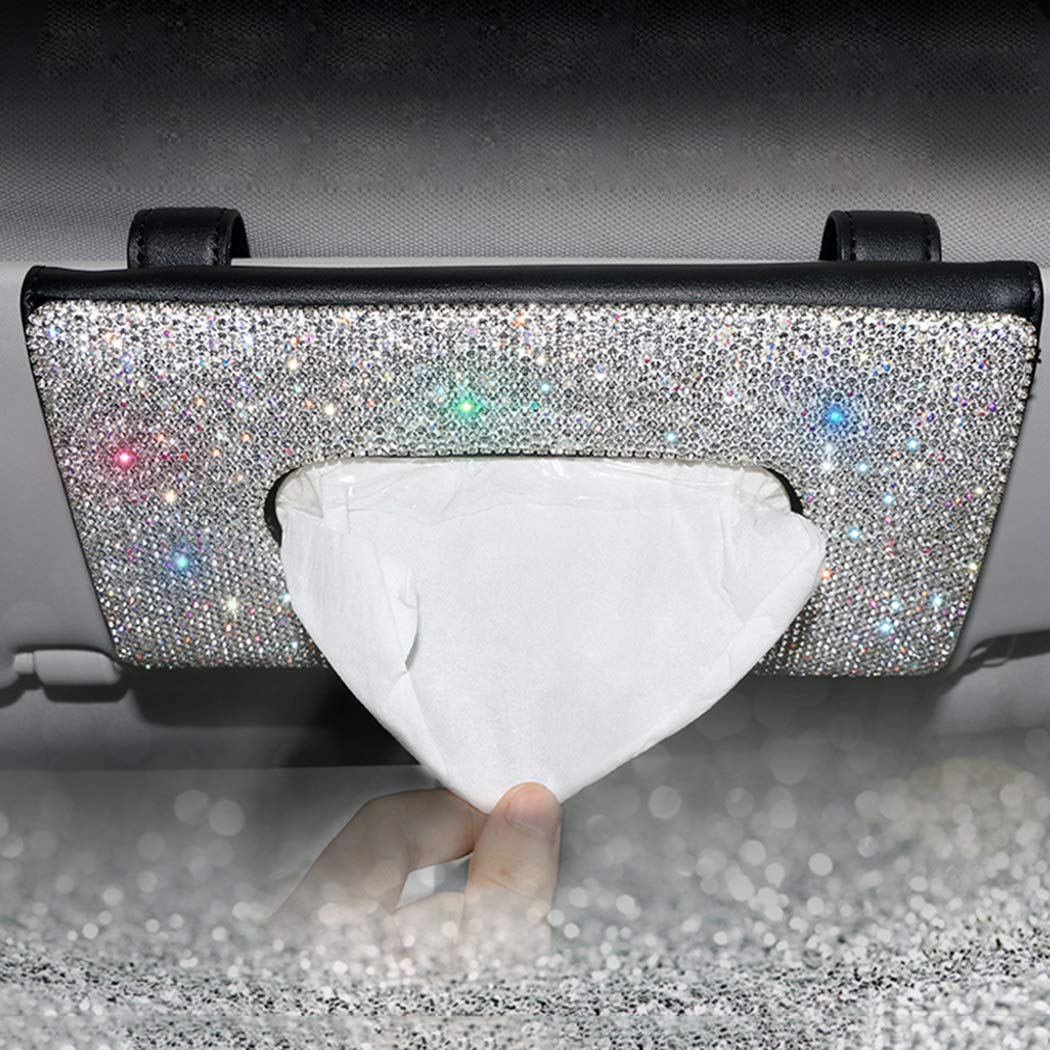Full Bling-Beige Black Forala Crown Crystal Auto Sun Visor Tissue Box Holder PU Leather Bling Bling Car Interior Accessories Paper Towel Storage Bag