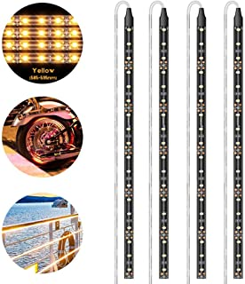 Geeon LED Strip Lights Waterproof 12V Orange Yellow (585-595nm) for Auto Car Truck Motorcycle Boat Interior Lighting UL Listed 30CM/12'' 3528 SMD Pack of 4