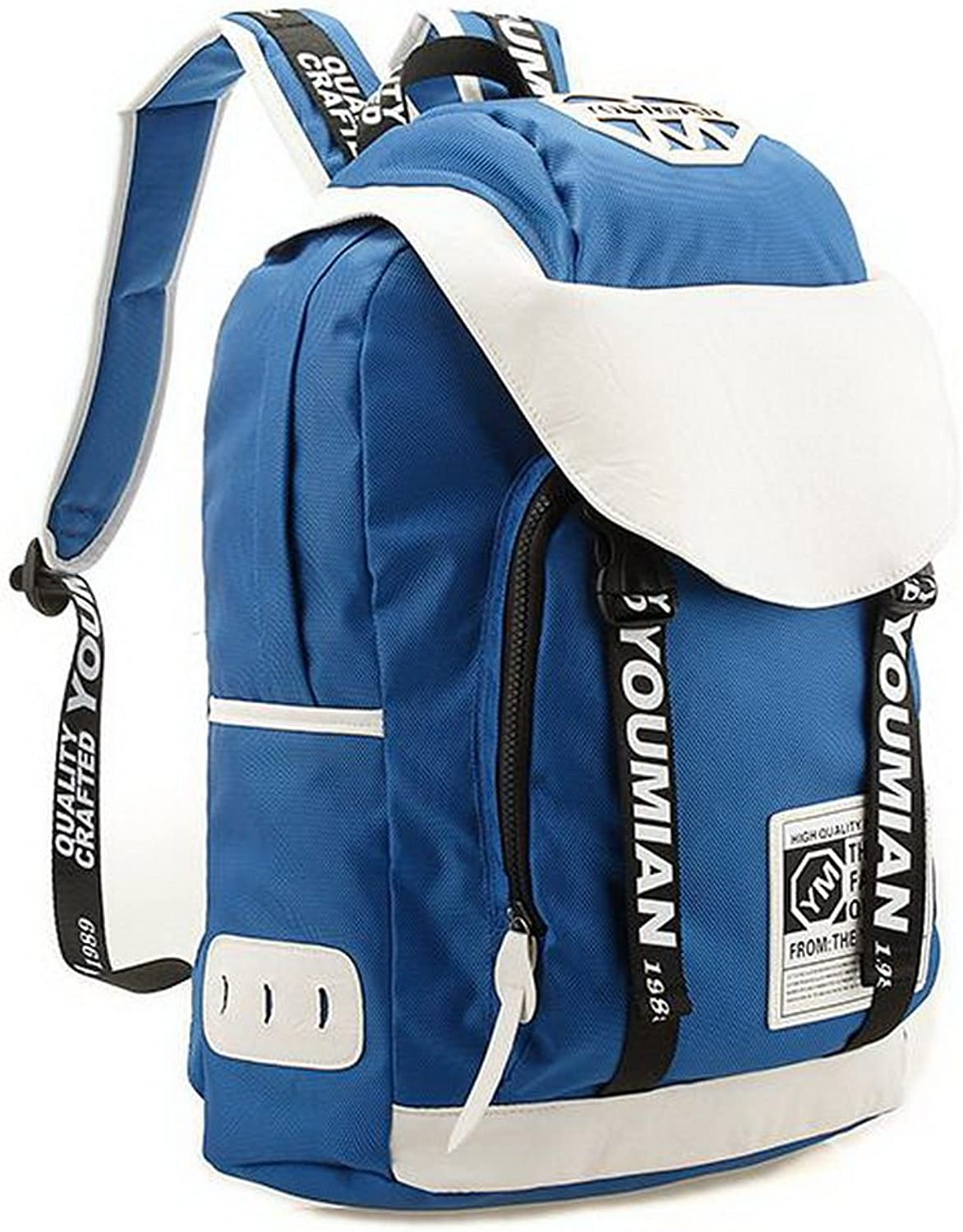 Adult Backpack Canvas Sport Backpack for Girls blueee&White