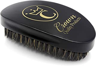 Crown Quality Products 360 Gold Mixed Boar Bristle Caesar Brush - Onyx Black Medium