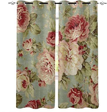 Light Filtering Window Treatment Drapes Semi Sheer Curtains for Living Room Bedroom Grommet Panels for Patio Glass Door/Balcony - Set of 2, 52x63 Inch, Retro Art Peony Flower