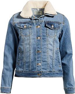 'WallFlower Girls Fashion Denim Jackets (Medium Light/Sherpa Collar, 14/16)'