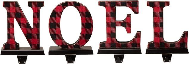 Glitzhome Set of 4 Christmas Stocking Holders Red and Black Buffalo Plaid Solid Rubberwood Noel Xmas Stocking Hangers Deco...