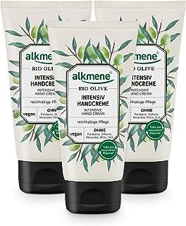 alkmene Handcreme mit Bio Olive - Intensiv Creme für sehr trockene Hände - vegane Olivenöl Intensivcreme ohne Silikone, Parabene, Mineralöl, PEGs, SLS & SLES - Hautpflege im 3er Pack 3x 75 ml