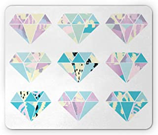 Lunarable Pastel Mouse Pad, Geometrical Crystal Diamond Gemstone Shapes Pattern with Pastel Color Transitions, Rectangle N...