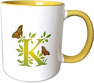 3dRose 239134_8 Monogram Initial K in Leafy Green Butterflies, Yellow Mug, 11 oz