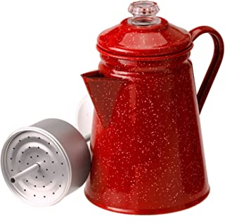 Camping 8 Cup Red Enamel Percolator Coffee Pot. Hiking Outdoor Steel Tea Kettle ♥ What's Hot