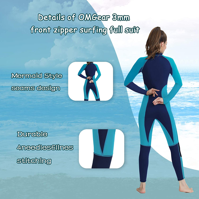 OMGear Wetsuit Men Women 3mm Neoprene Full Body UV Protection One Piece Long Sleeves Scuba Diving Suits Back Zipper Swimsuit for Scuba Diving Surf Snorkeling Swimming