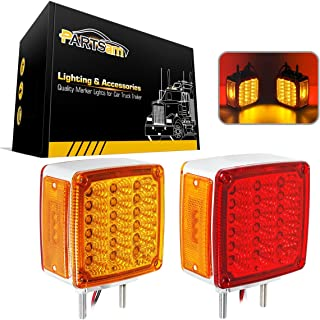 Partsam 2x Truck Trailer Square Double Face Pedestal Stop Turn Tail Light Amber / Red 39 LED for Peterbilt Freightliner Kenworth Mack Western Star