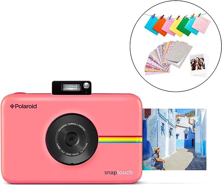 Polaroid Snap Touch 2.0 - Cámara digital portátil instantánea de 13 Mp Bluetooth pantalla táctil LCD tecnología Zink sin tinta y nueva aplicación copias adhesivas de 5 x 7.6 cm rosa