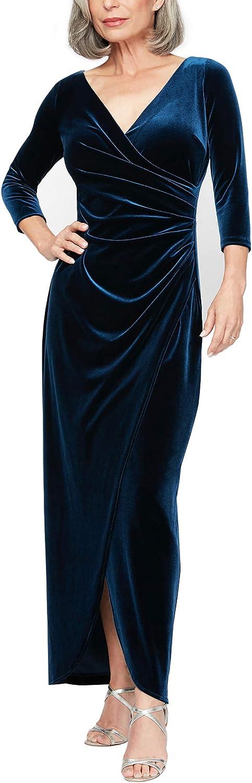Alex Evenings Women's Long supreme Limited time cheap sale 3 Dress 4 Velvet Sleeve