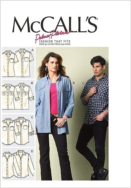 McCalls M6613 - Patrón Pasar Coser una Camisa Unisex (4 diseños Diferentes)