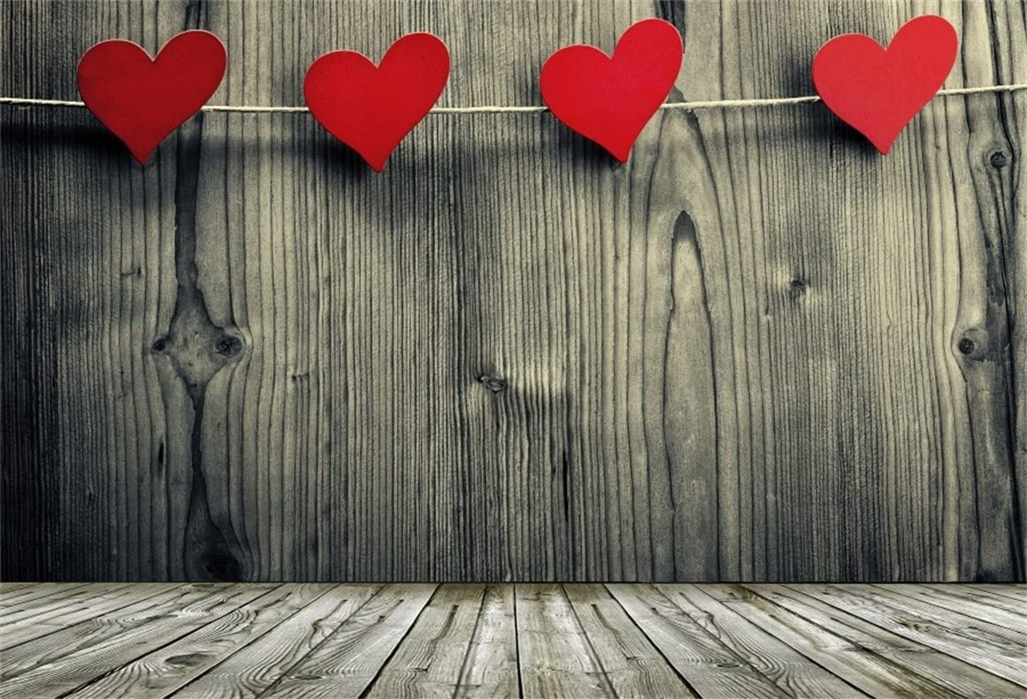 7x7FT Vinyl Photo Backdrops,Valentine,Small Up and Down Hearts Photo Background for Photo Booth Studio Props
