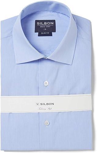 SILBON - Camisa Vestir rayitas puño Doble para Hombre: Amazon ...