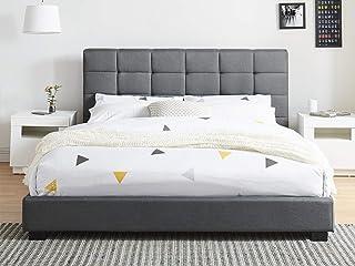 Générique Lit Adulte avec tête de lit capitonnée en Tissu Gris foncé, sommier à Latte, 160x200 - Collection William