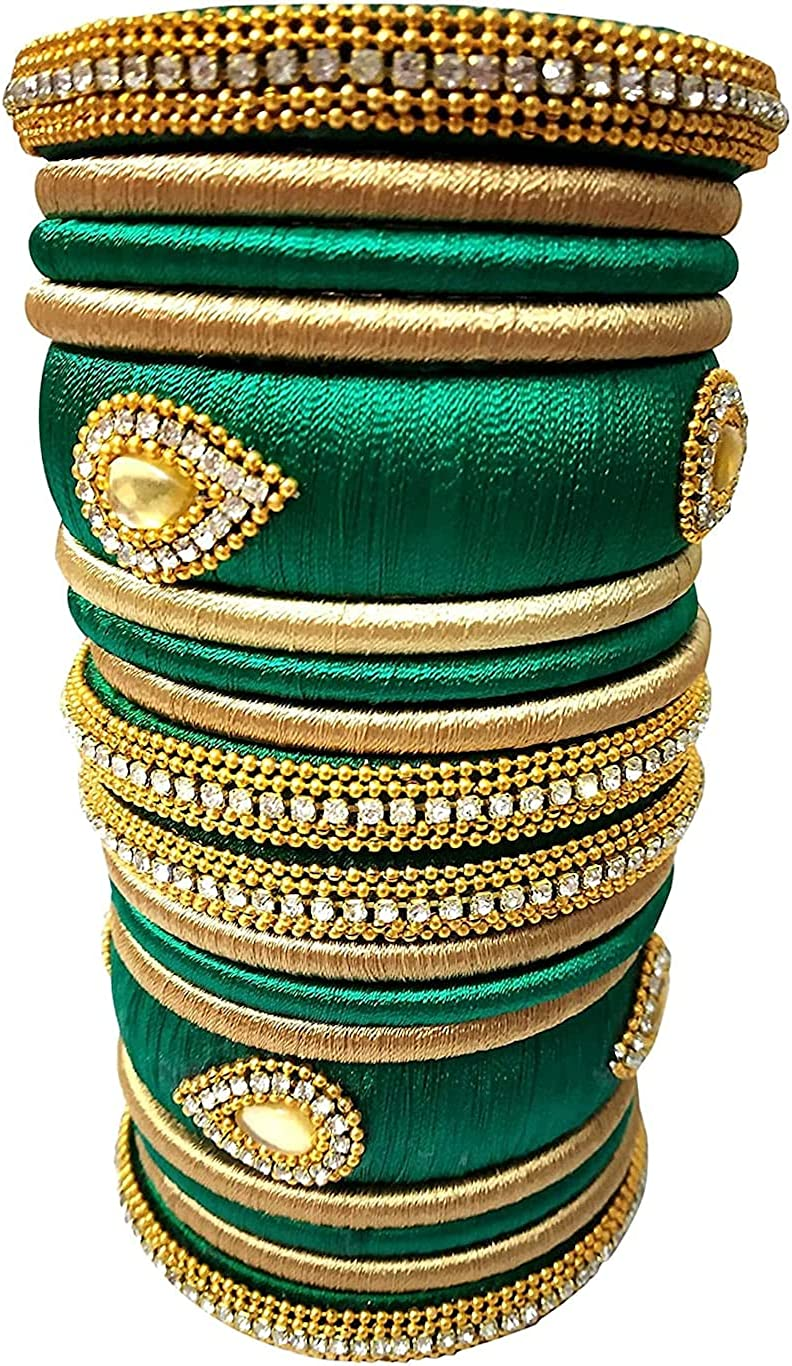 18 pcs. Both Hand Green Silk thread Bridal Ethnic/traditional Bangle Set