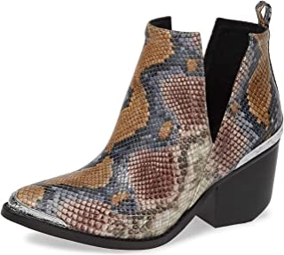 Jeffrey Campbell Cromwell Snake Embossed Grey Wine Snake Boot