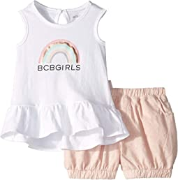 Graphic Ruffle Tank Top/Eyelet Balloon Shorts Set (Infant)