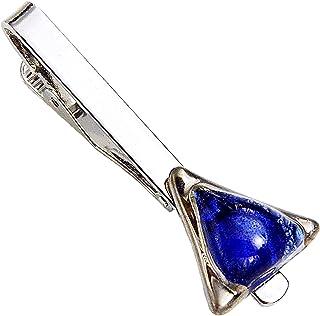 Krawattenklammer • Blau • Krawattennadel • Dreieckig • Tschechisches Blasenglas mit Platin überzogen • Handgefertigt