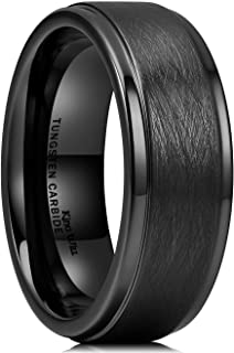King Will Classic 8mm Tungsten Carbide Ring Black/Silver Brushed Two Grooved Center Mens Wedding Band