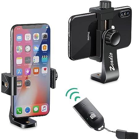Zeadio Soporte de montaje en trípode para teléfono inteligente, Adaptador de trípode para teléfono móvil con obturador remoto inalámbrico, se adapta a todos los teléfonos inteligentes iPhone y Android