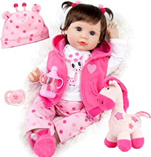 Milidool Reborn Baby Dolls 22 Inch Lifelike Weighted Newborn Girl Doll with Pink Clothes and Deer Toy Accessories