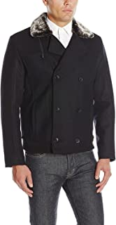 Men's Double Breasted Jacket with Faux Shearling Collar
