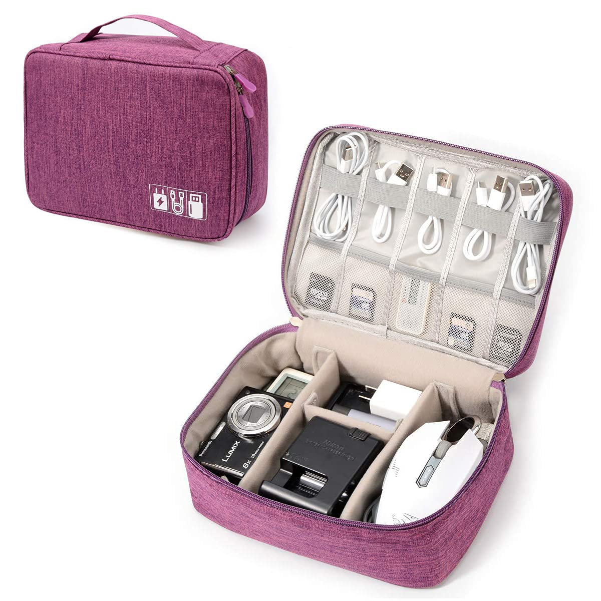 Electronic Organizer Travel Universal Cable Organizer Electronics Accessories Storage Bag Gadget Gear Cases for iPad Mini, Kindle, Smartphone, Cable, Charger, Power Bank, USB, SD Card (Purple)