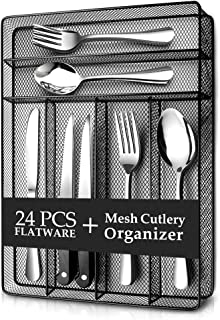 Teivio 24 Piece Silverware Set, Flatware Utensils Set Mirror Polished, Dishwasher Safe Service for 4, Include Knife/Fork/Spoon/Steak Knife/Wire Mesh Steel Cutlery Holder Storage Trays (Black Tray)