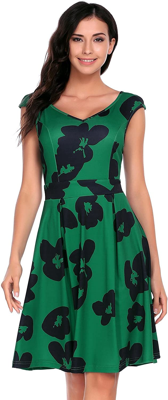 Elesol Women's Casual Vintage V Neck Swing Cap Sleeve Flower Printed Dress