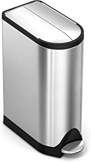 simplehuman 18 Liter / 4.8 Gallon Butterfly Lid Kitchen Step Trash Can, Brushed Stainless Steel