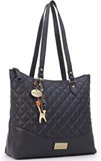 Women's Quilted Leather Tote/Shoulder Bag - SOFIA