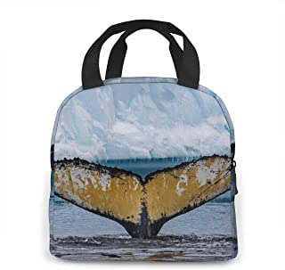 Portable Insulated Lunch Bag - Antarctic Humpback Whale Tail Fin Lunch Box Totebag Moisture Resistant Bento Bag - Office School Reusable Lunchbox Container Snacks Organizer