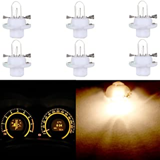 cciyu 6 Pack T5 B8.4D 5050 LED SMD Warm White Replacement fit for BMW Dodge Benz Dashboard Gauge Cluster LED Light Bulbs