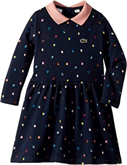 Long Sleeve Lacoste Dots Fleece Dress (Toddler/Little Kids/Big Kids)