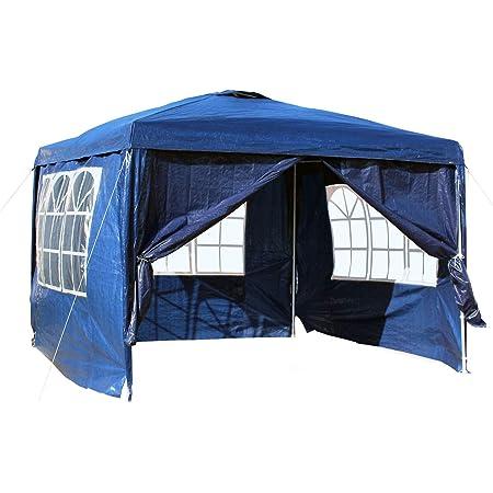 WilTec Carpa de jardín con Elementos Laterales Desmontables 3x3m Azul con Ventanas Cenador para Exterior