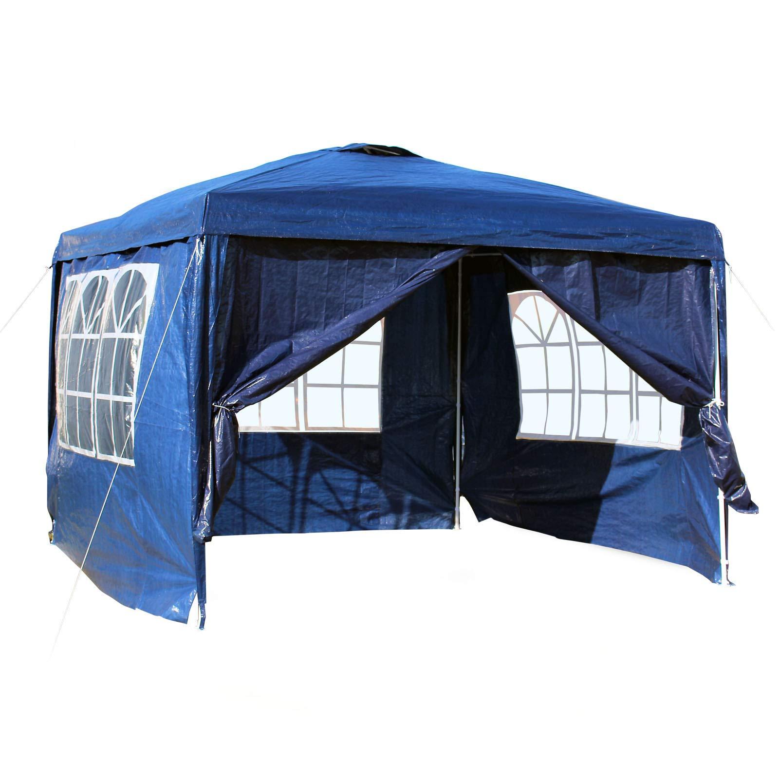 WilTec Carpa de jardín con Elementos Laterales Desmontables 3x3m Azul con Ventanas Cenador para Exterior: Amazon.es: Deportes y aire libre