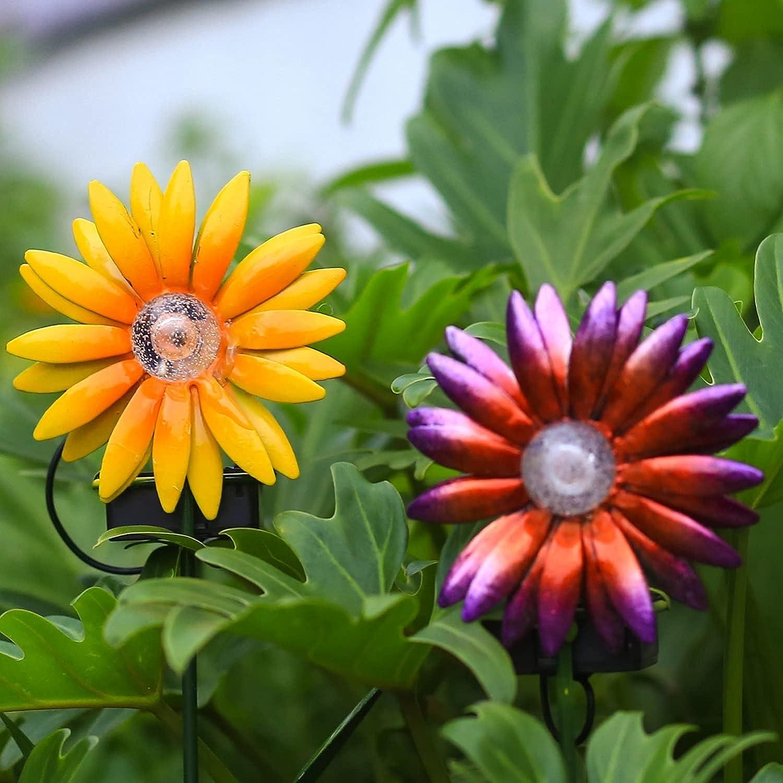 2 Pack Metal Flower Garden Stakes Decor-Outdoor Metal Sunflowers Daisy Glow in Dark Metal Yard Art,Waterproof Metal Flower Stick,Indoor Outdoor Lawn Yard Pathway Patio Ornaments ( Purple & Yellow)