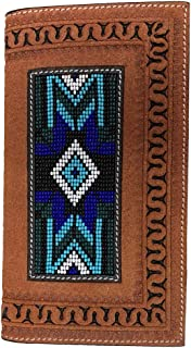 Twisted X Wallet, Rodeo, Leather Blue Beading Inset