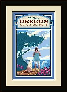 Northwest Art Mall JK-1691 MFGDM OVL Oregon Coast Overlook Framed Wall Art by Artist Joanne Kollman, 13 by 16-Inch