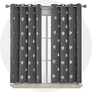 Deconovo Blackout Curtain Foil Printed Shiny Diamond Pattern Curtains Grommet Light Blocking Window Drapes for Living Room 2 Dark Grey 52 x 63 inch