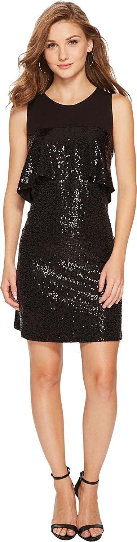 kensie Women's Sequin Sleeveless Ruffle Dress