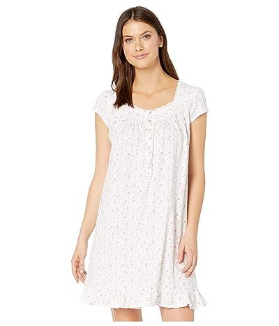 Eileen West Cotton Jersey Knit Short Sleeve Short Nightgown (White Ground/Multi Floral) Women